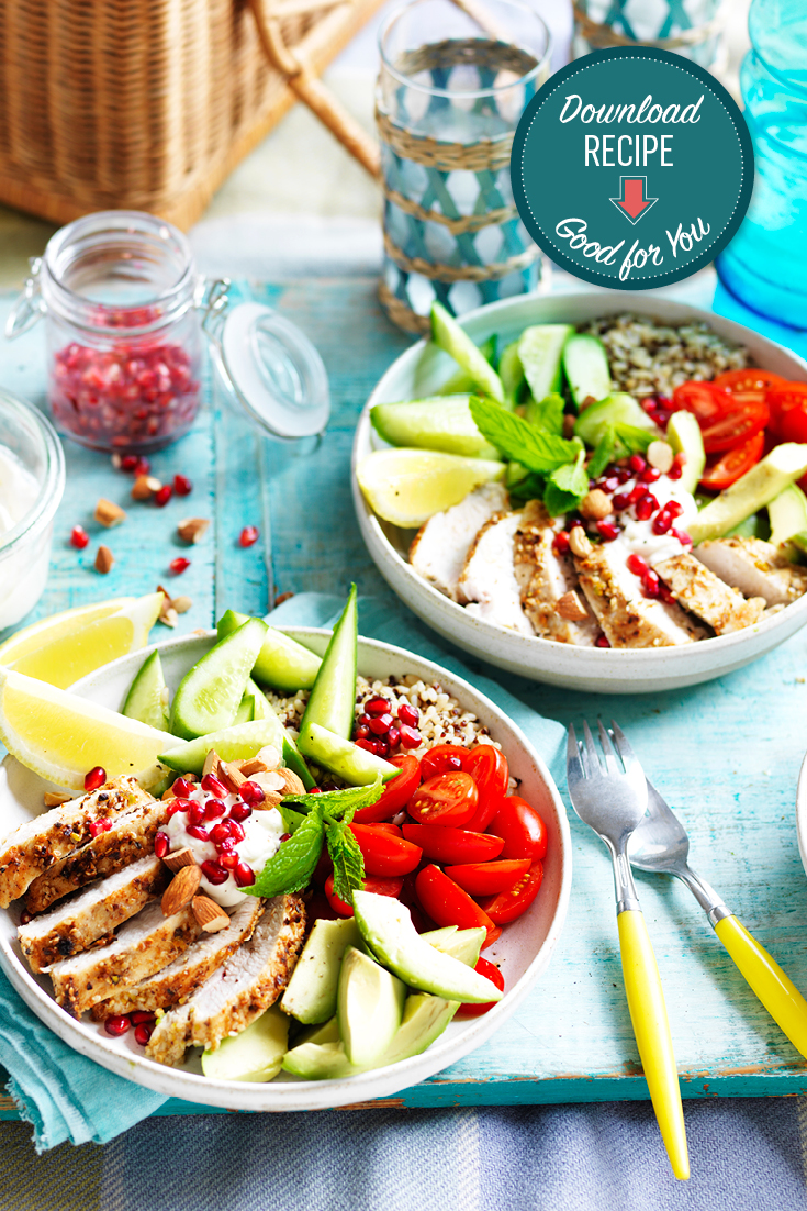 This dukkah chicken nourish bowl recipe can be enjoyed for dinner or lunch and is full of nutritious ingredients to keep you going.