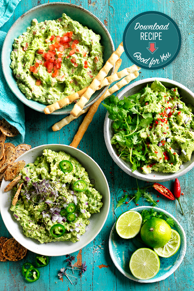 This easy guacamole recipe can be enjoyed with three different toppings. Perfect for both kids and adults.