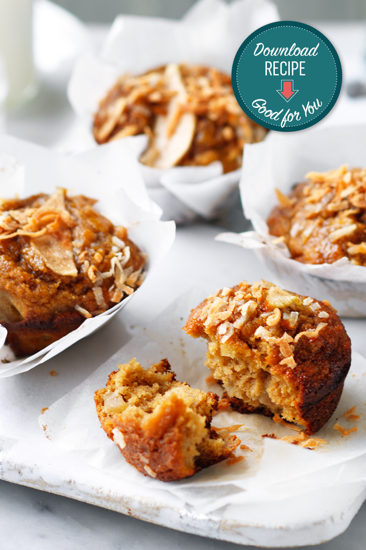 These pear and coconut muffins are the ideal low sugar snack or sweet fix.