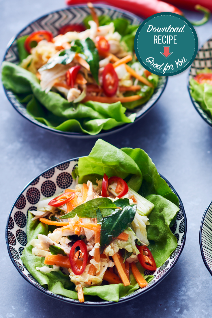 This quick and easy asian poached chicken recipe in lettuce cups is a healthy recipe perfect for a quick lunch or dinner.