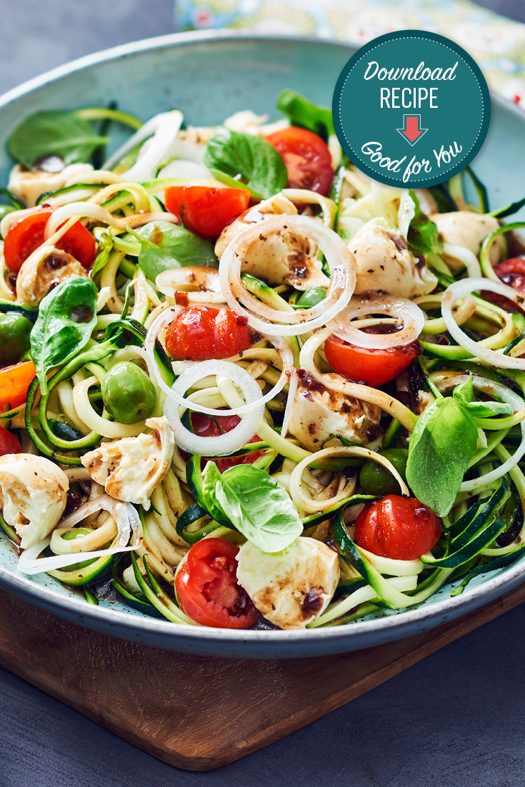 This easy and fresh mediterranean zucchini spiral salad recipe is a delicious, vegetarian dinner option if your feeling like something light.