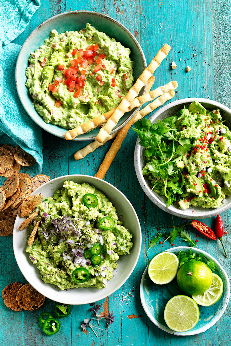 This quick and easy guacamole recipe can be enjoyed with three different toppings. One that the kids will love.