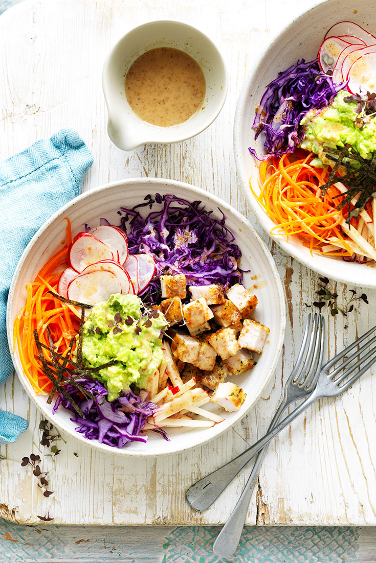 This avocado, chicken and cabbage nourish bowl recipe is the perfect mid-week dinner idea.