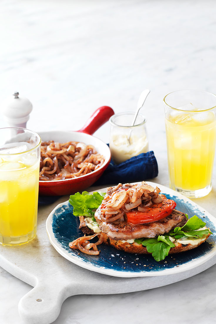 This quick steak, tomato and sweet onion open sandwich recipes is the prefer Australia Day recipe to serve to family and friends.