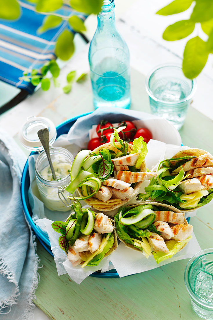This easy and delicious chicken, mint and asparagus wrap recipe is the ideal make-ahead lunch or dinner idea.