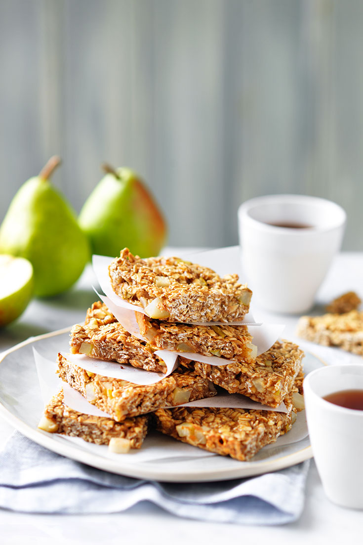 This quick and easy pear and oat slice recipe is a great snack for the kids and packs easily into their lunch boxes.