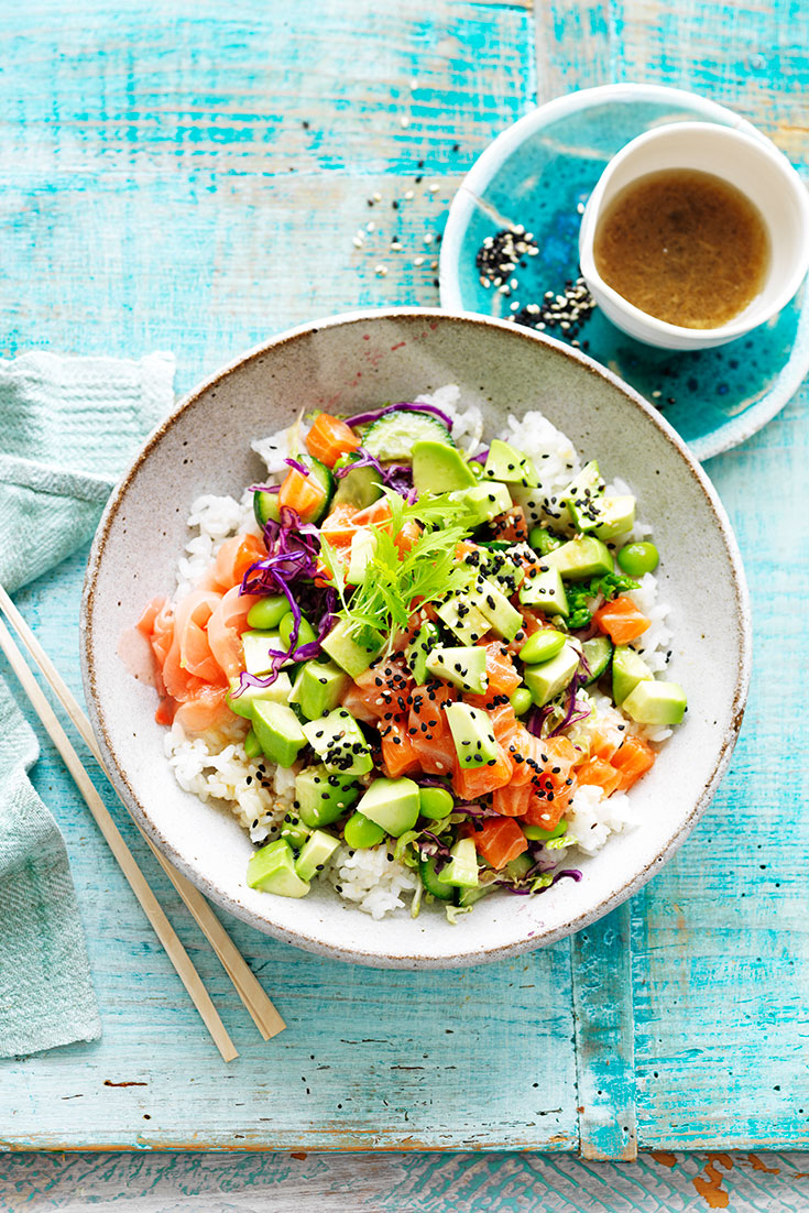 This easy salmon and avocado poke bowl recipe is great for lunch or dinner.