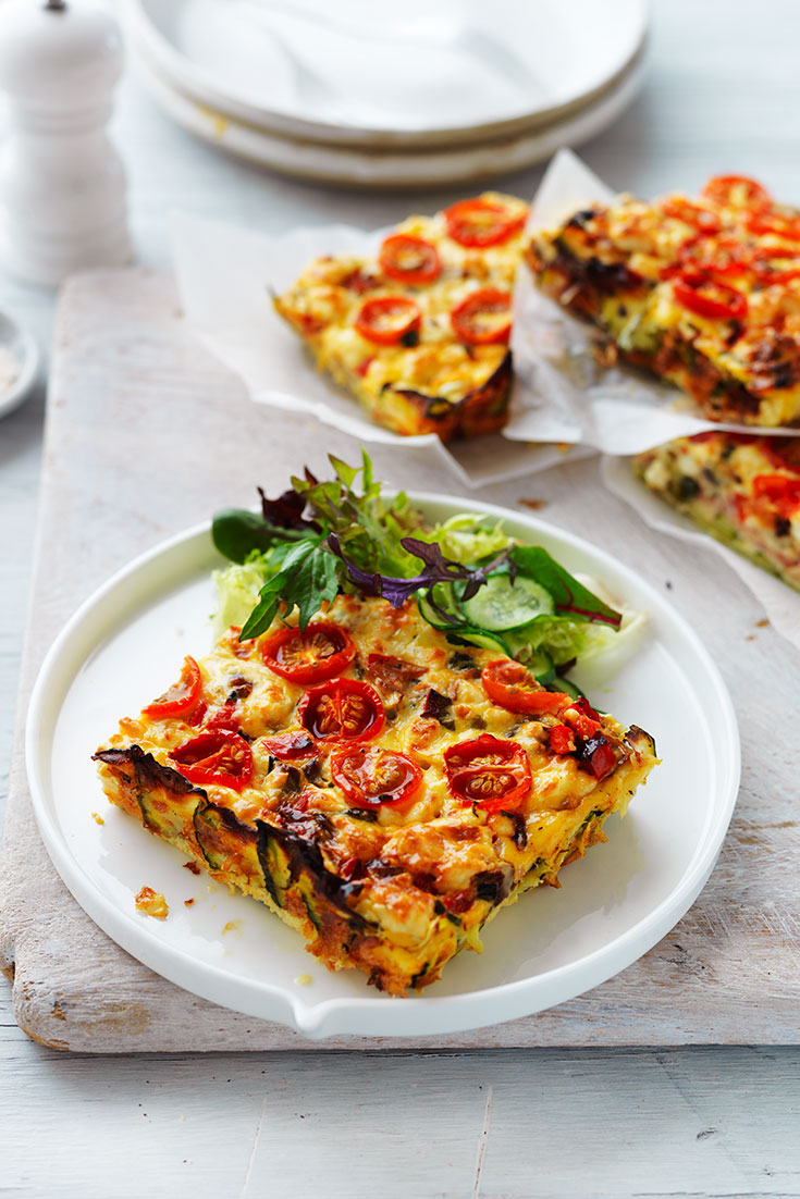 This vegetable and ham slice recipe is a quick and easy lunch idea to pack into lunch boxes or take to work.