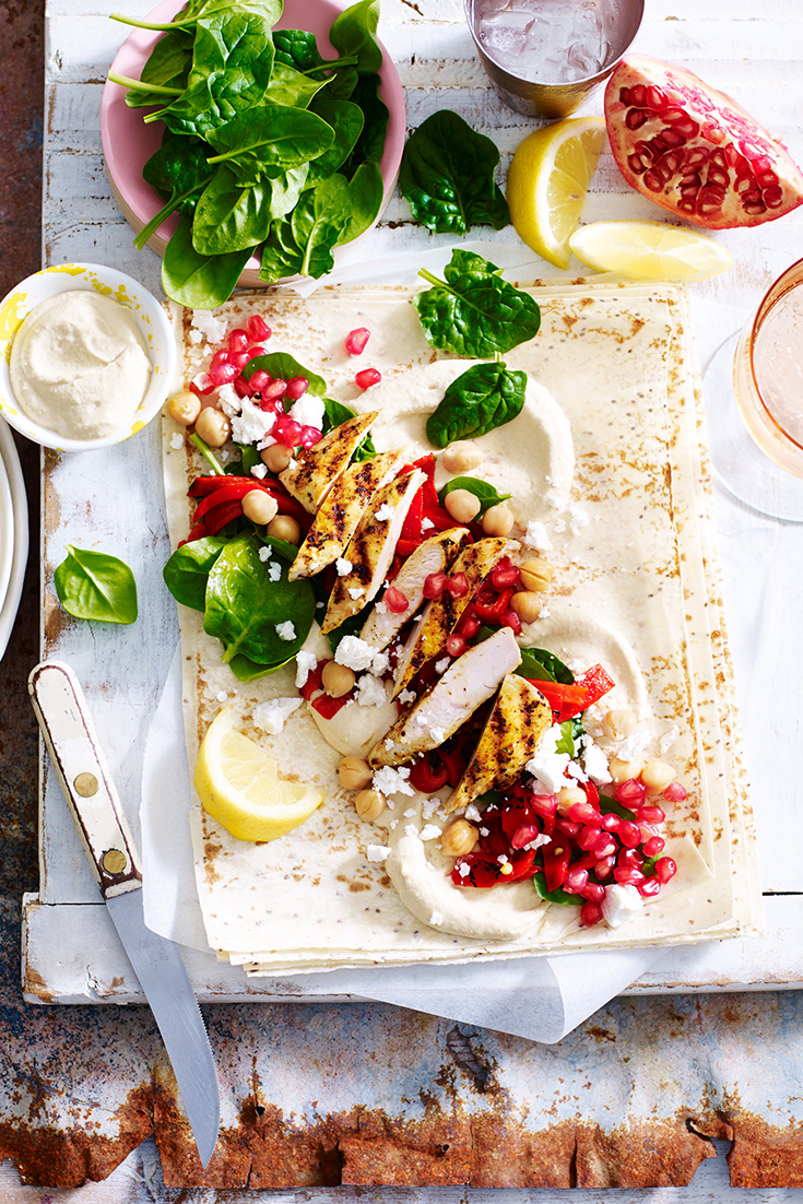 This easy chia wraps recipe with moroccan chicken and pomegranate is a quick and easy portable lunch idea.