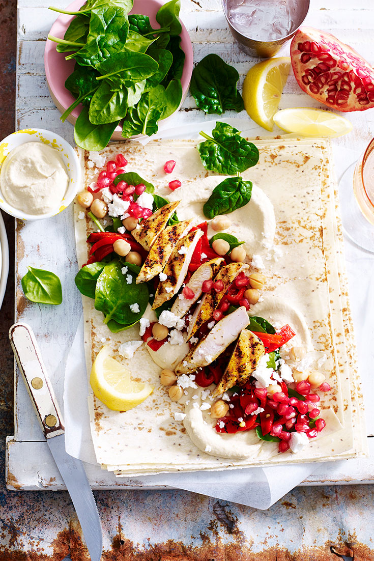 This easy chia wraps with pomegranate and moroccan chicken recipe is ideal for a quick, protein-packed lunch idea.