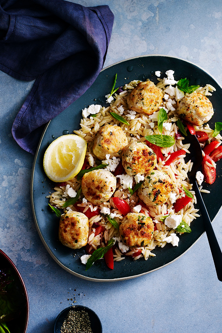 This easy greek chicken meatballs with warm pasta salad recipe is ideal for entertaining but is also a great mid-week dinner idea.