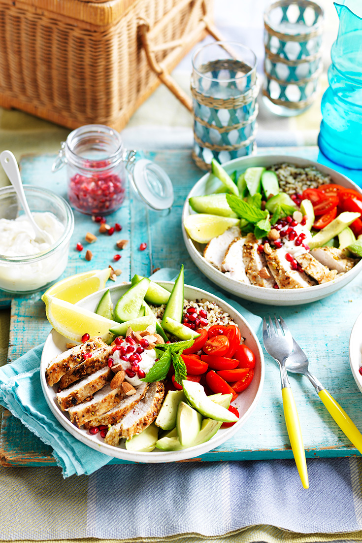 This easy dukkah chicken nourish bowls recipe is ideal as a make ahead lunch or quick dinner idea.