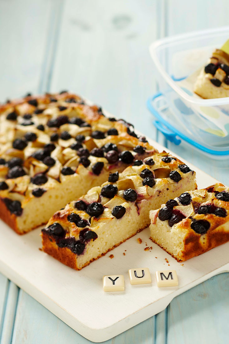 This easy apple, blueberry and yoghurt bars recipe is kid-friendly and ideal for lunch boxes.