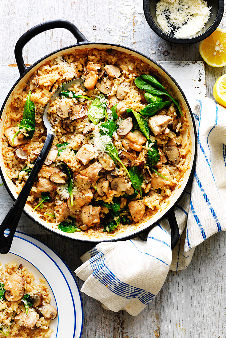 This easy oven baked chicken and mushroom risotto recipe is ideal to freeze ready for lunch time eating.