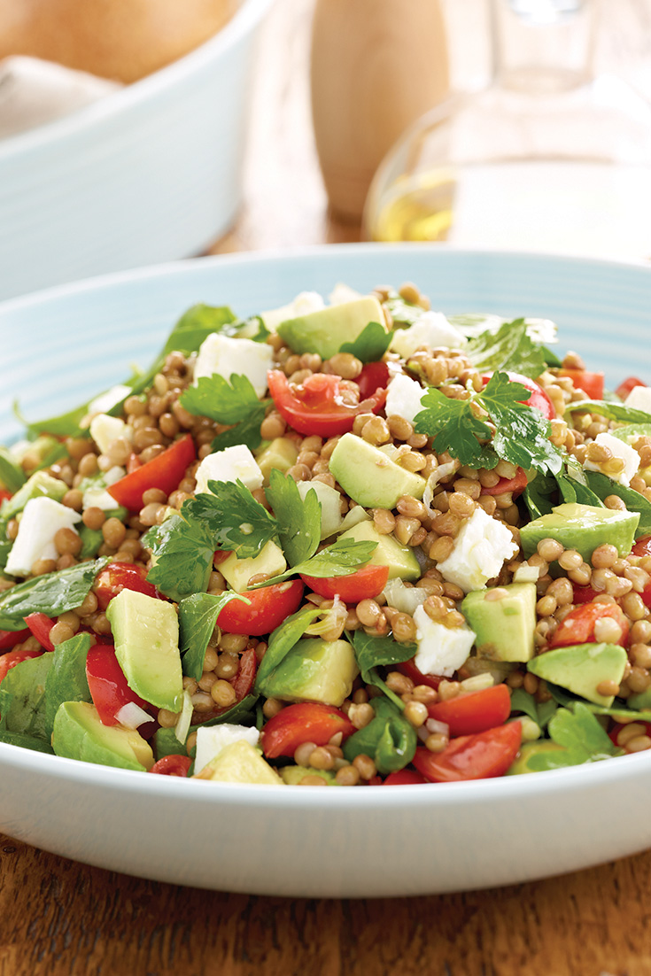 This simple avocado lentil salad is a great vegetarian dinner idea.