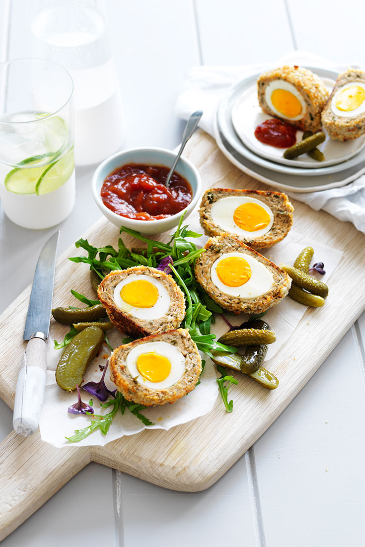 This quick and easy chicken scotch eggs recipe is packed with protein and ideal for lunch or dinner.