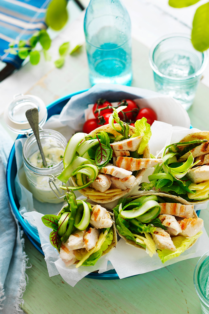 This easy chicken, mint and asparagus wraps recipe is the ideal portable lunch idea.