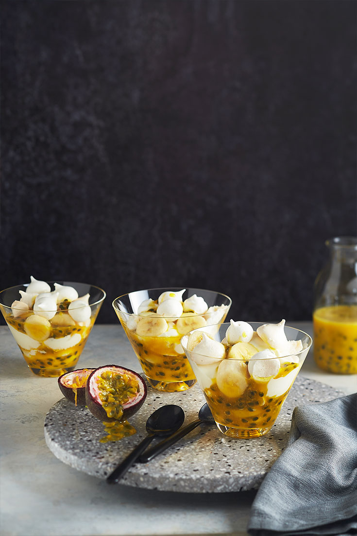 This quick and easy Eton mess with tangy passionfruit sauce recipe the the ideal romantic dessert.