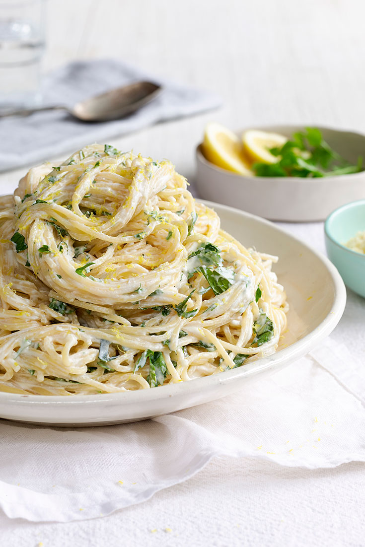 This easy lemon and herb ricotta spaghetti recipe is the perfect main meal to serve on Valentine's Day.