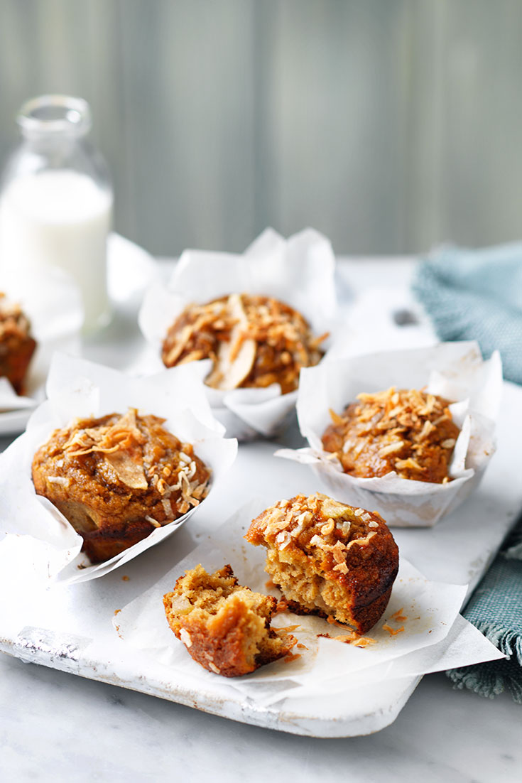 This quick and easy pear and coconut muffin recipe the a great snack idea and is perfect for lunch boxes.