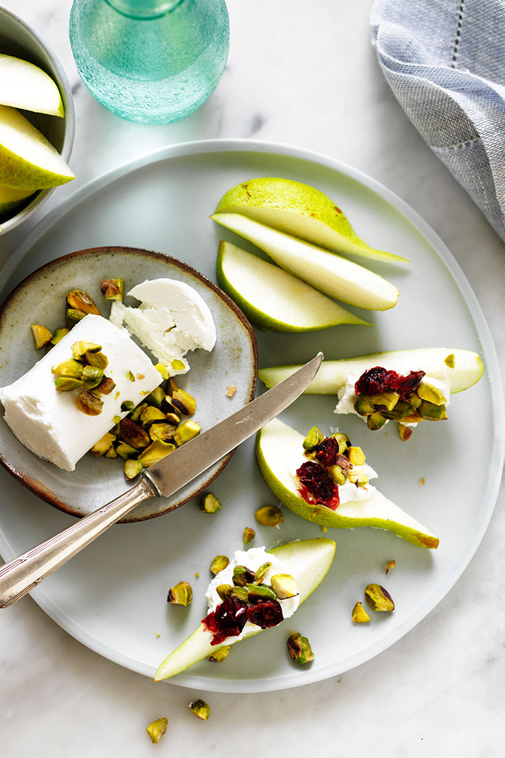 This easy goats cheese and pear wedges salad recipe is a decadent snack to enjoy with some wine.