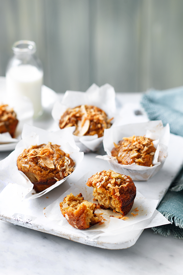 This easy pear and coconut muffin recipe is ideal for lunch boxes and is an easy afternoon snack.