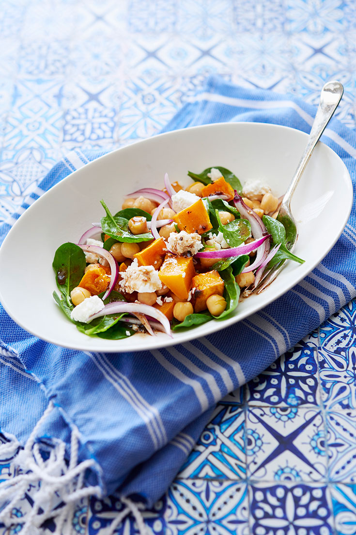 This quick and easy pumpkin and chickpea salad is perfect for a light lunch.
