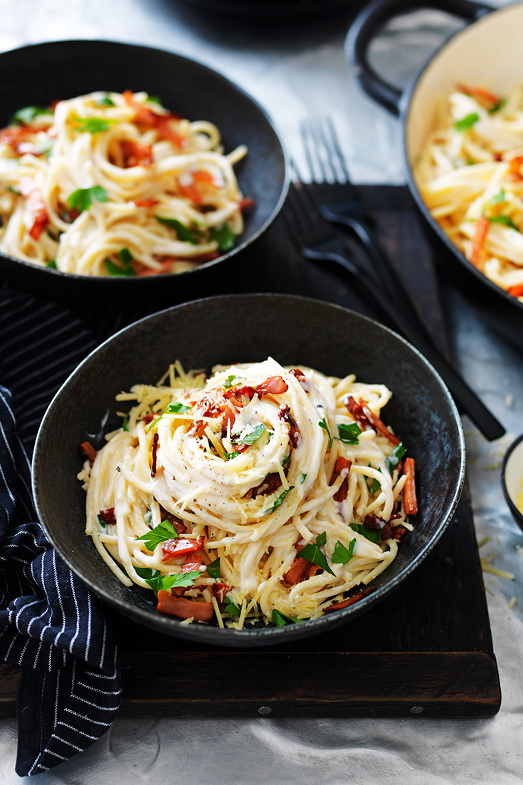 This easy four cheese spaghetti carbonara can be made in a bigger batch and frozen to be eaten later.