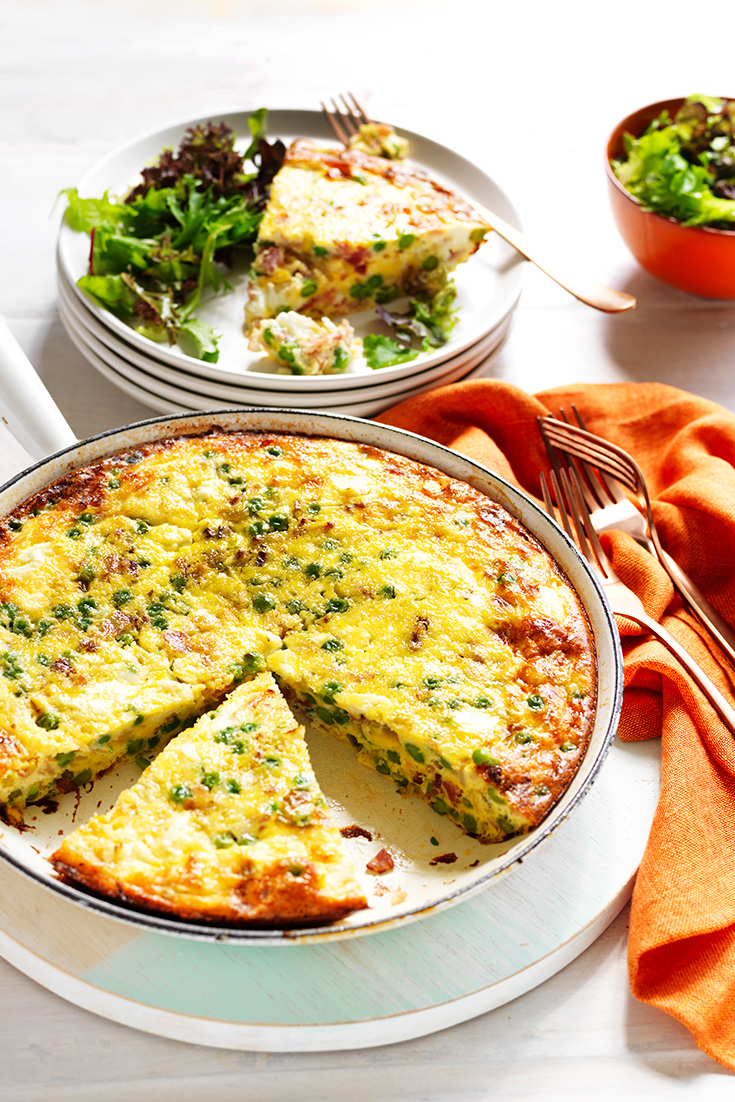 This easy pea, leek and bacon frittata recipe is ideal for sharing and is also great for a light lunch.