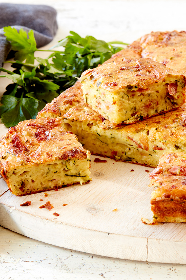 This quick and easy zucchini, herb and pancetta frittata recipe is ideal for lunch or dinner.