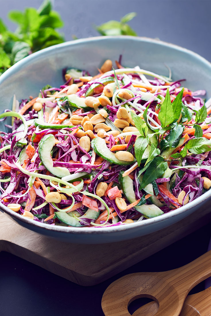This quick and easy asian slaw recipe is ideal to be paired with any piece of meat such as fish, lamb or chicken.
