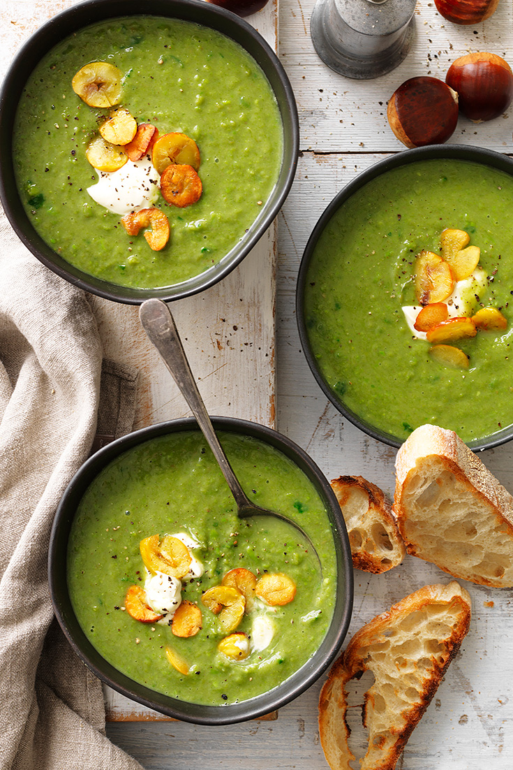 This easy and colourful chestnut, spinach and green pea soup recipe can be frozen and made in big batches.