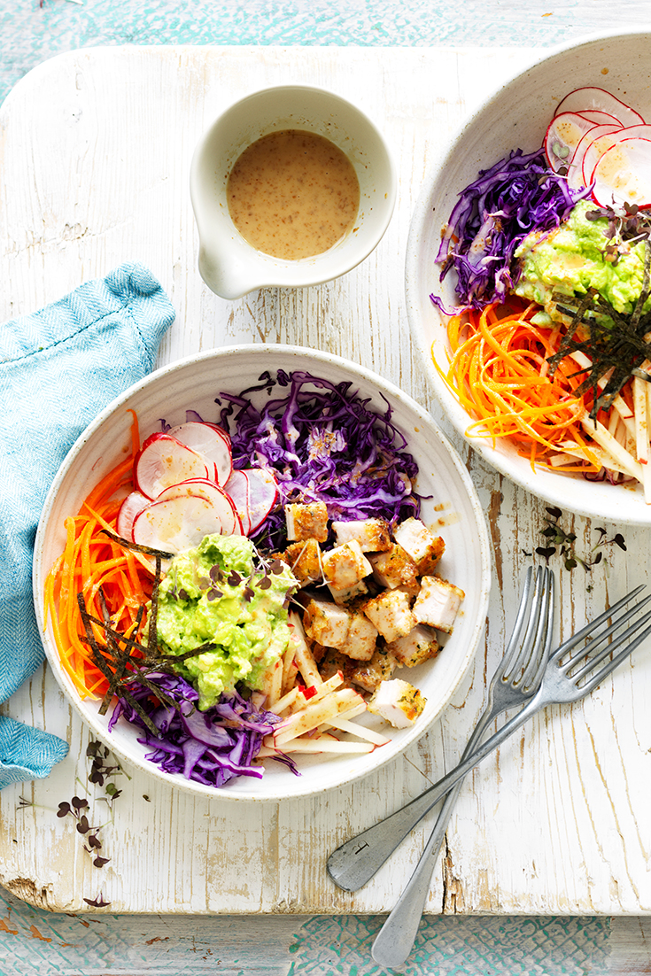 This stunning avocado, chicken and cabbage nourish bowl recipe is ideal for both lunch and dinner.