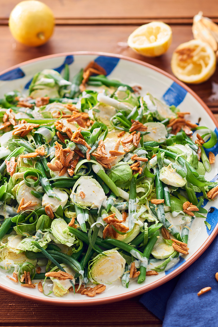 This fresh lemony sprout salad with maple almonds is ideal for entertaining and full of vibrant flavours.