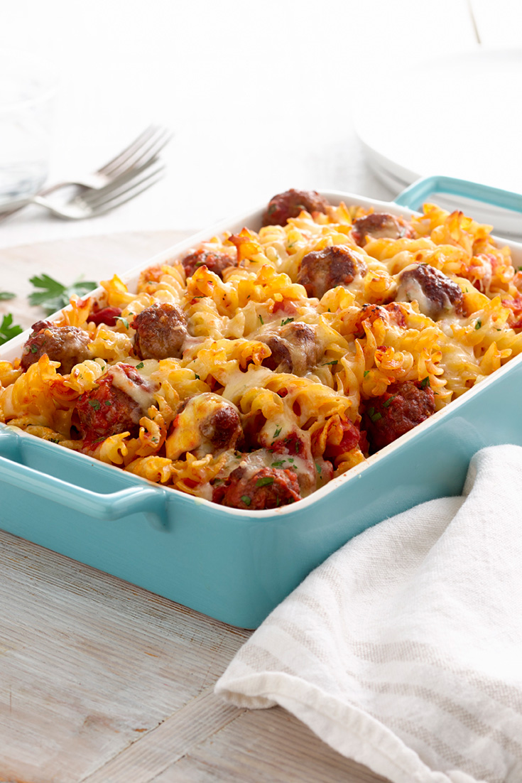 This easy Italian meatball fusilli bake recipe is ideal for a delicious family dinner idea.