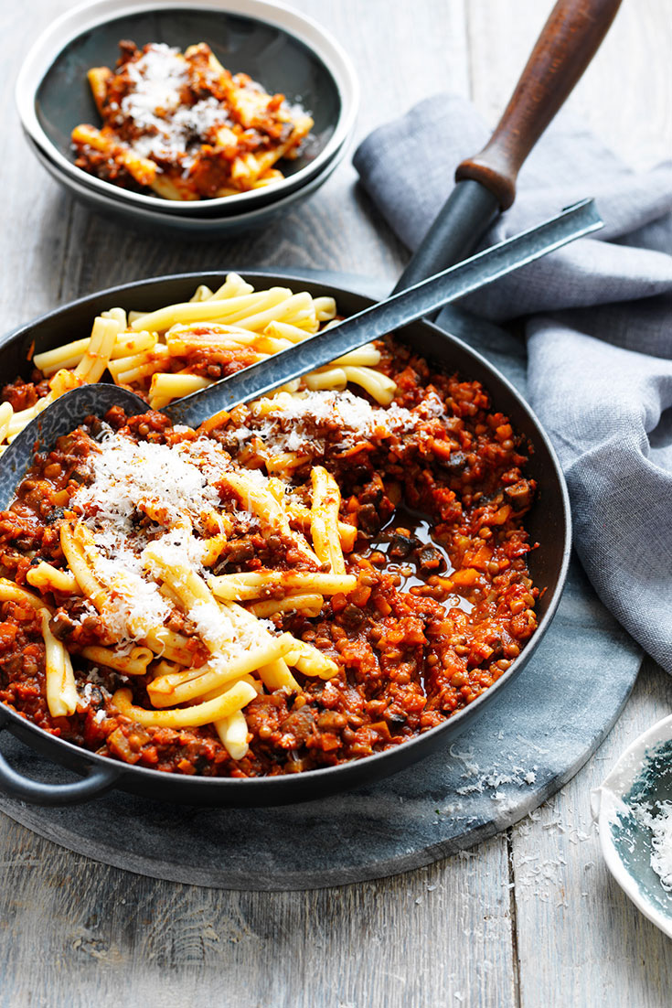 This quick and easy mushroom and lentil bolognese recipe can be made in big batches and frozen to eat later.