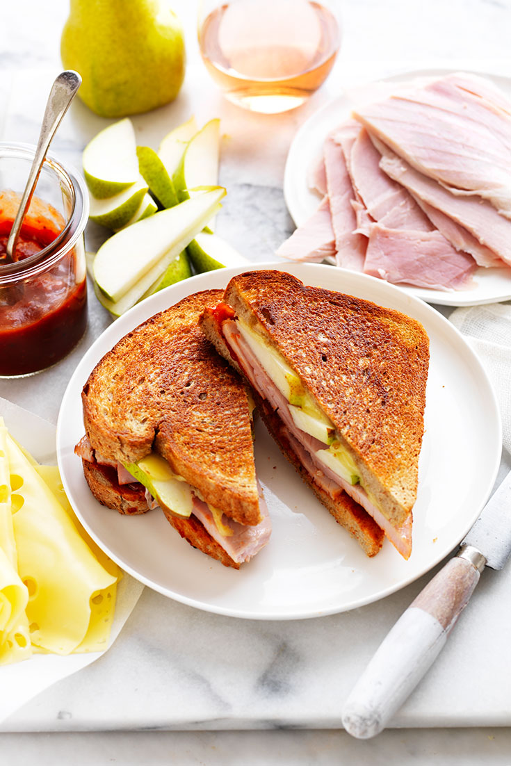 This easy chutney, leg ham, pear and Swiss cheese toasties recipe is an ideal quick lunch or dinner idea.