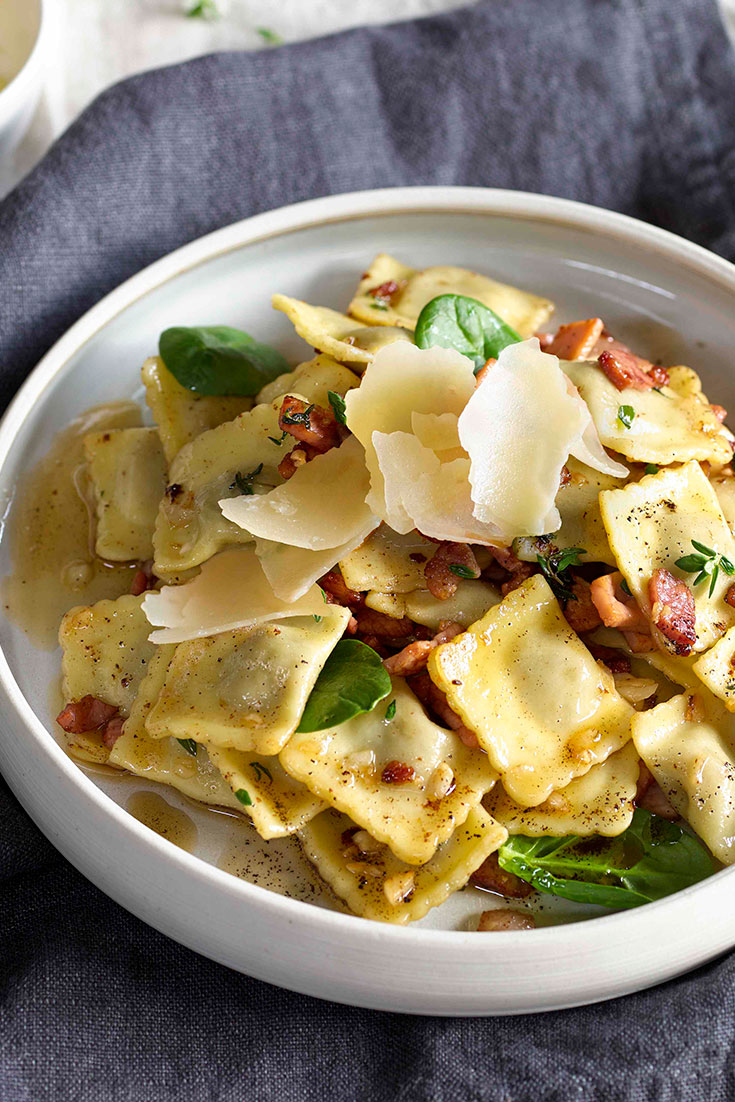 This easy beef ravioli with thyme burnt butter and bacon recipe is ideal for kids and busy weeknights.