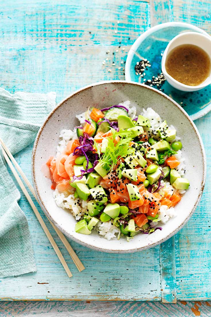 This stunning salmon and avocado poke bowl recipe is packed full of nutrients and will keep you powering.