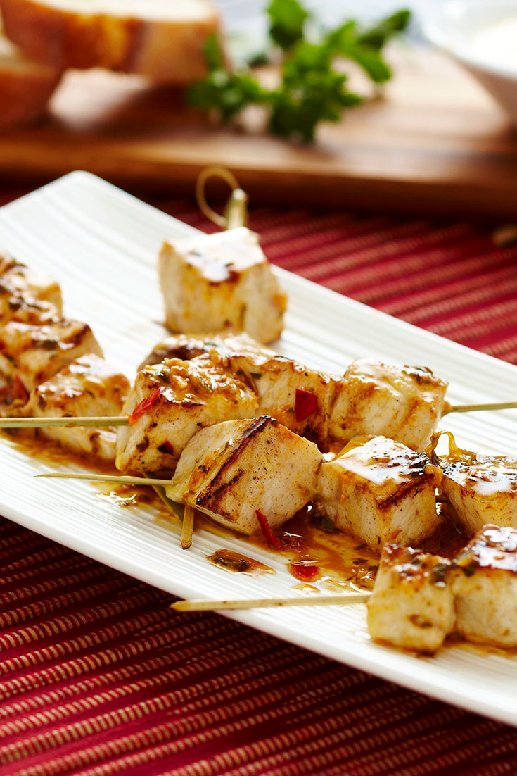 This easy barbecue sword fish skewers with salmoriglio butter recipe is an easy seafood dish ideal for Easter Friday.