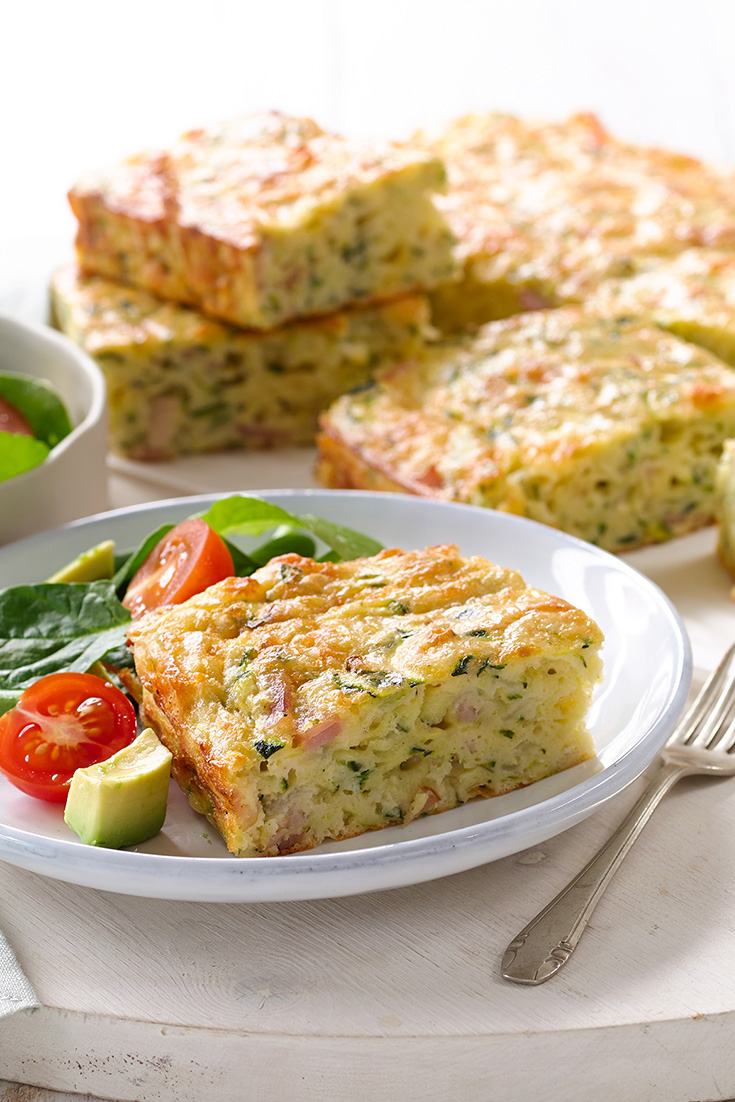 This easy zucchini and bacon slice recipe is ideal for a make-ahead lunch or easy mid-week dinner.