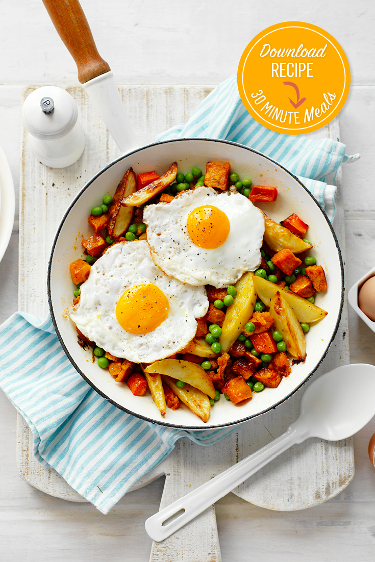 This easy peasy Aussie bubble and squeak with fried egg topper recipe is ideal for a quick breakfast during the week.