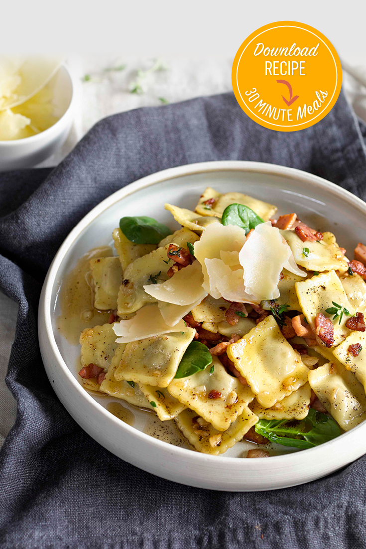 This easy beef ravioli with thyme burnt butter and bacon recipe is ideal for busy families needing a quick fulfilling meal.