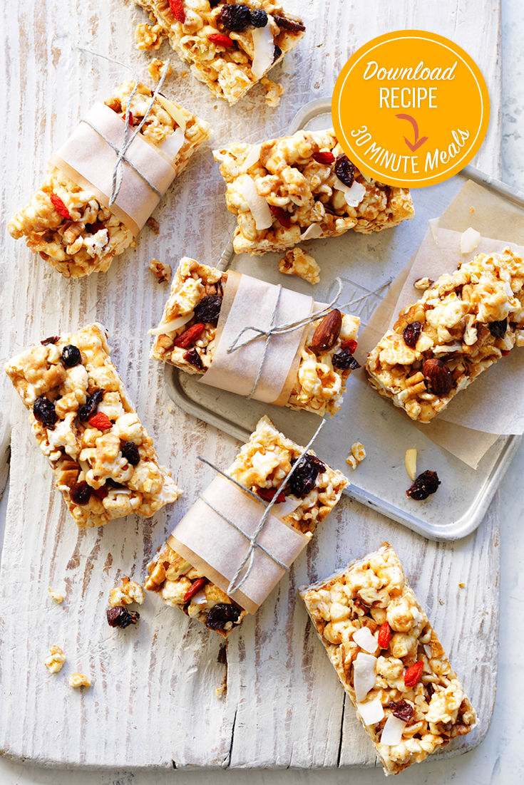 This easy popcorn and coconut slice recipe is ideal for snacking on the run or in the kids lunch boxes.
