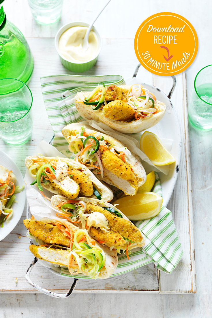 These easy to build lemon and pepper chicken, zucchini slaw pitas recipe are great for lunch or dinner and can be on the table in 30 minutes.