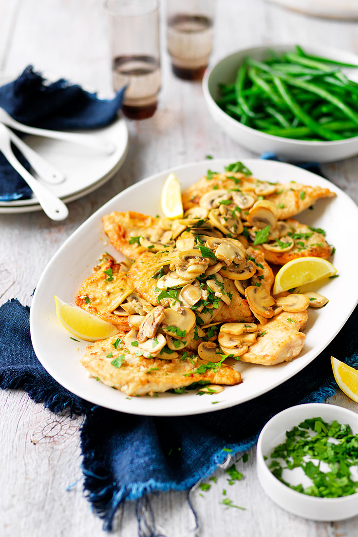 This easy mushroom and lemon and chicken recipe is a great family dish for easy weeknight eating.
