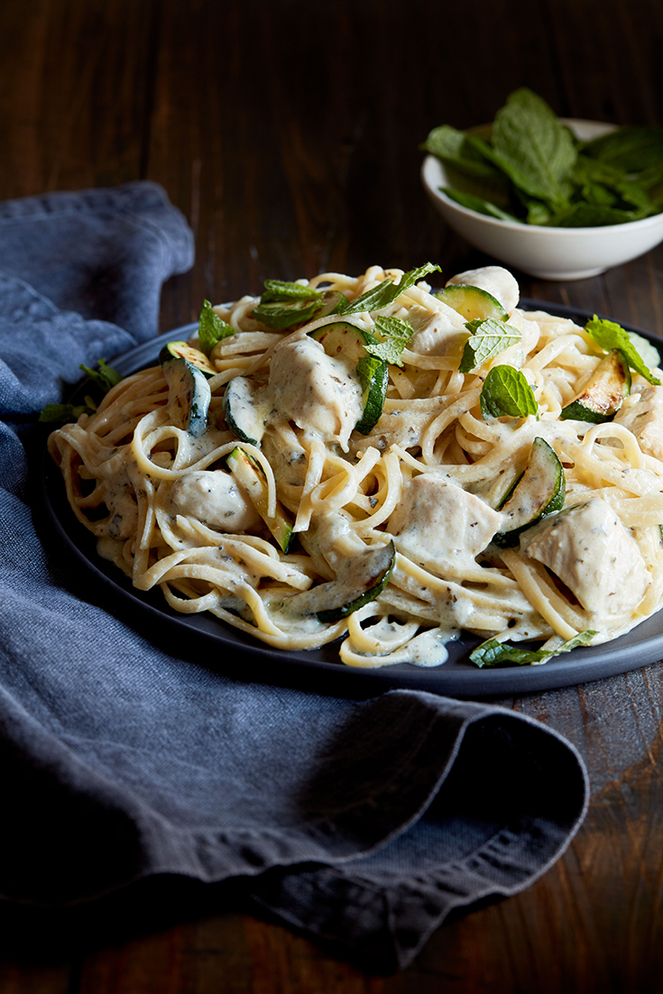 This easy chicken and zucchini linguine recipe with garlic and herb ricotta is a great chicken dish ideal for weeknight eating.