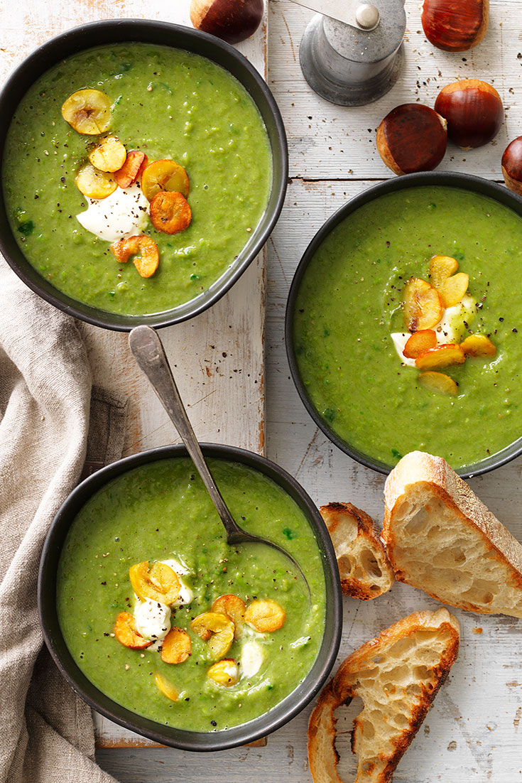 This stunning chestnut, spinach and green pea soup recipe is packed full of protein and vegetables.