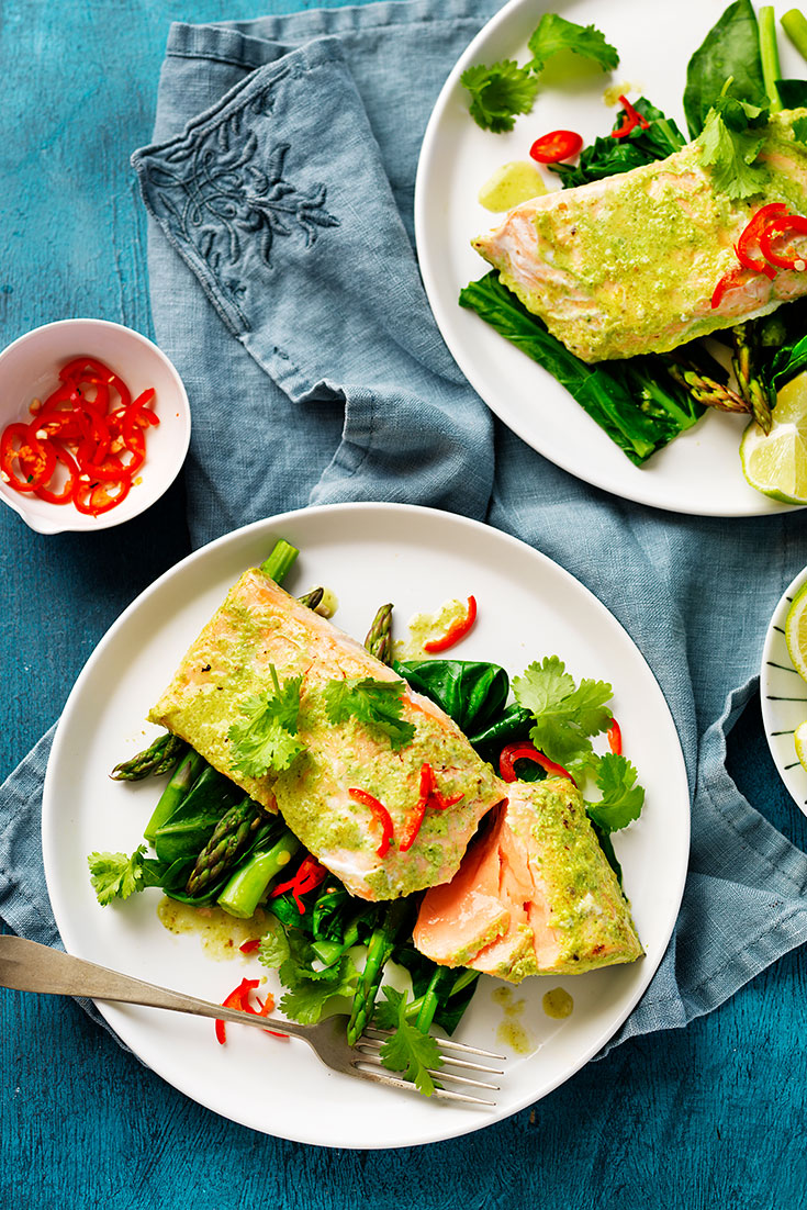 This fresh and zesty easy asian roasted salmon recipe is packed full of goodness and is a healthy family dinner idea.