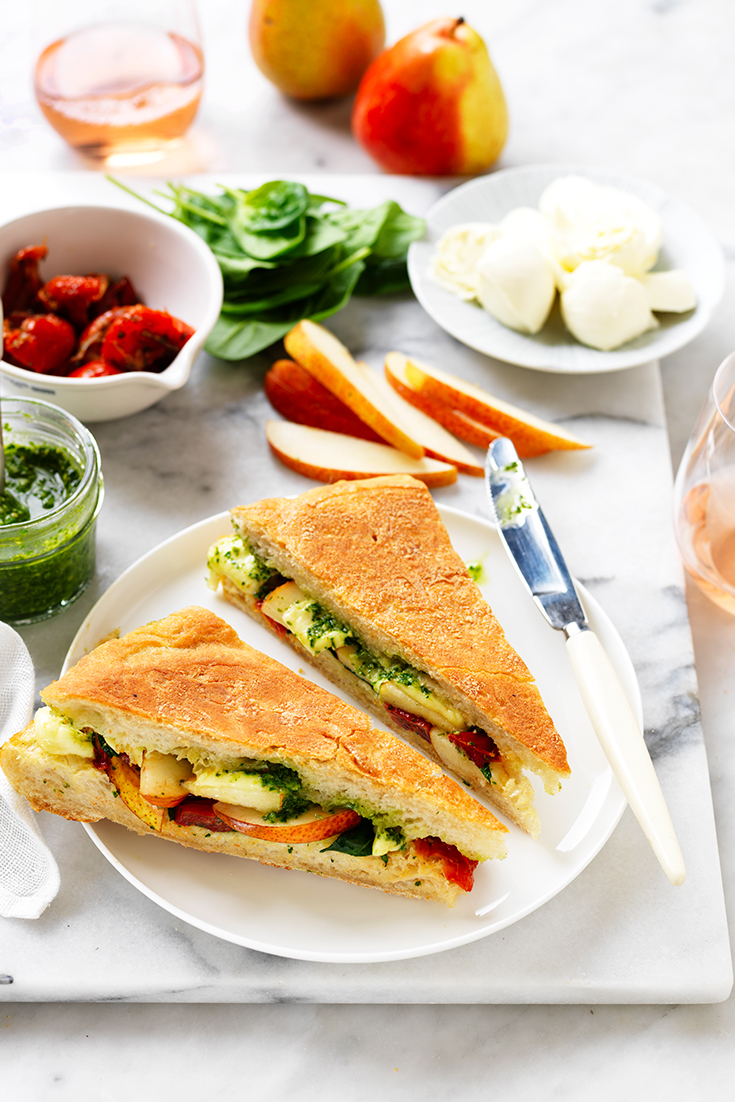 This vegetarian pesto, semi dried tomato, pear and bocconici toastie is great quick and easy dinner idea.